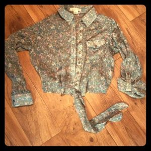 Band of Gypsies sheer button up floral blouse